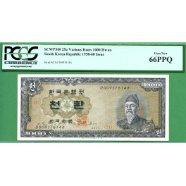 KOREA  P25  1000 HWAN   4293 PCGS 66 PPQ